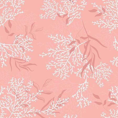 Nahtloses Korallenmuster - Ideal für sommerliche Textildrucke oder Karten, Hintergründe, Geschenke, Verpackungsdesignprojekte. Oberflächenmuster-Design.