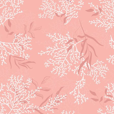 Seamless coral pattern - Great for summer textile print or cards, backgrounds, gifts, packaging design projects. Surface pattern design.
