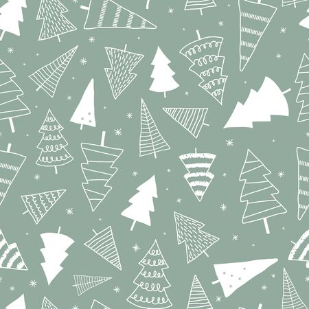 Beautiful and cute christmas trees seamless pattern, hand drawn and decorated trees - great for textiles, banners, wallpapers, cards - vector surface design Ilustração