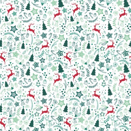 Beautiful christmas doodles seamless pattern - hand drawn and detailed, great for christmas textiles, banners, wrappers, wallpapers - vector surface design
