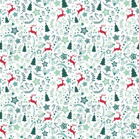 Mooie kerst doodles naadloze patroon - hand getekend en gedetailleerd, geweldig voor kerst textiel, banners, wrappers, wallpapers - vector ontwerp van proefbaan Vector Illustratie