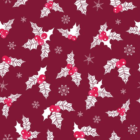 Beautiful Holly Berry seamless pattern, hand drawn creative leaves - christmas background, great for X-Mas themes, banners, wrapping paper, wallpaper, textiles - vector surface design