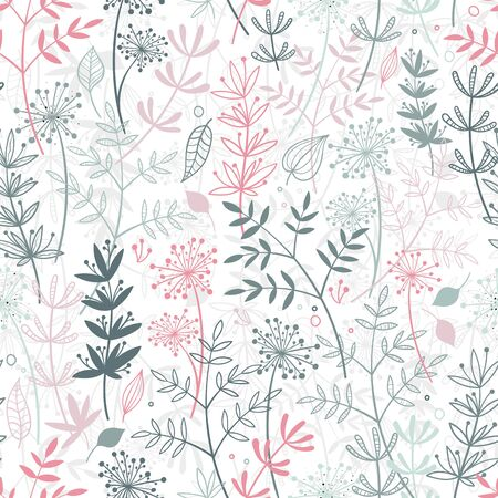 Elegant hand drawn seamless pattern, doodle floral, great for textiles, banners, wallpaper - vector design