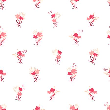 Cute hand drawn floral seamless pattern, great for valentines day, wrapping, banners, wallpapers, textiles - vector design