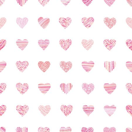 Cute hand drawn doodle hearts seamless pattern, romantic background, great for textiles, valentines day wrapping, banner, wallpaper - vector design Ilustração