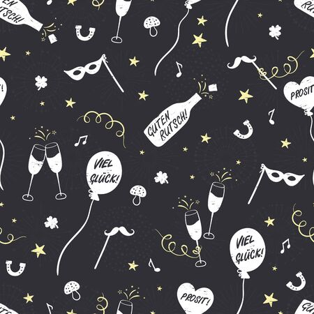 Fun hand drawn New Years Party seamless pattern - firework, paper streamers, cocktails and rockets doodles, great for banners, wallpapers, textiles, wrapping