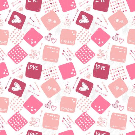 Cute hand drawn Valentine's Day seamless pattern, romantic doodles background with hearts, arrows, diamonds and type - great for textiles, wrapping, banner, cards, wallpaper, vector design Illustration