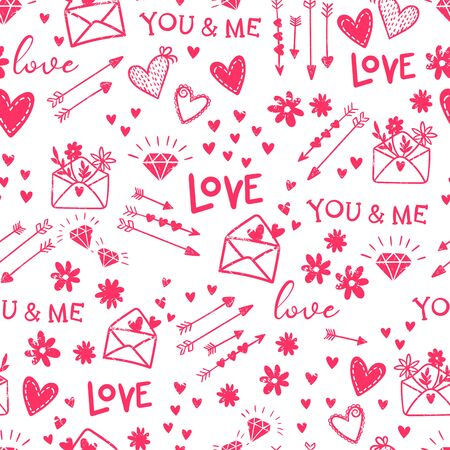 Cute hand drawn Valentine's Day seamless pattern, romantic doodles background with hearts, arrows, diamonds and type - great for textiles, wrapping, banner, cards, wallpaper, vector design