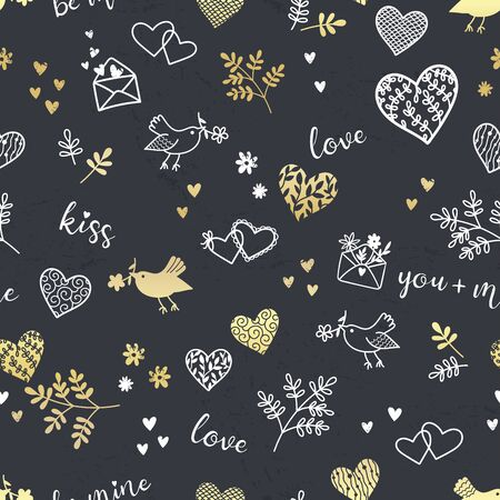 Cut hand drawn romantic seamless pattern, doodle hearts, birds, letters and type - great for textiles, banner, wallpapers, cards, wrapping - vector design