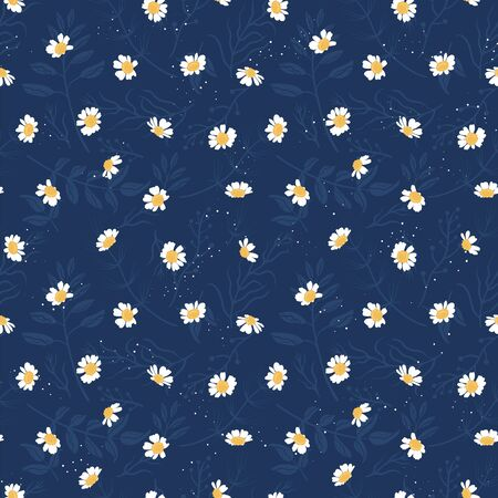 Cute hand drawn floral seamless pattern, chamomile flowers background, great for textiles, wrapping, banner, wallpaper - vector design Vektorgrafik