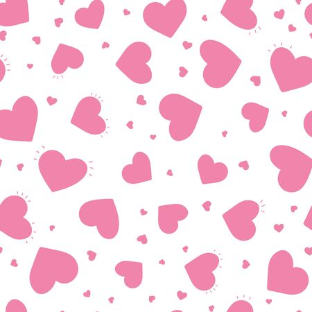 Cute hand drawn hearts seamless pattern, fun comic heart background, great for kids, valentines day, fabrics, wallpapers, banners - vector design