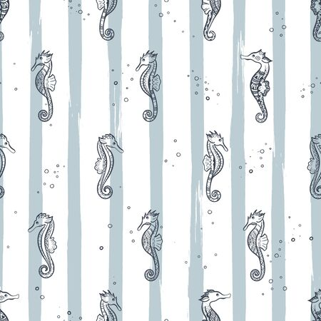 Cute hand drawn ornate sea horses seamless pattern, underwater theme background, great for fabrics, banners, wallpapers, wrapping - vector design