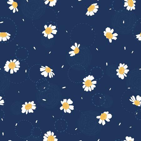 Niedliche handgezeichnete nahtlose Blumenmuster, Kamillenblüten Hintergrund, ideal für Textilien, Verpackung, Banner, Tapeten - Vektordesign