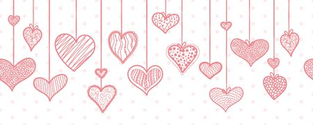 Cute hand drawn hanging doodle hearts horizontal seamless pattern, romantic background, great for textiles, valentines day wrapping, banner, wallpaper - vector design Ilustração