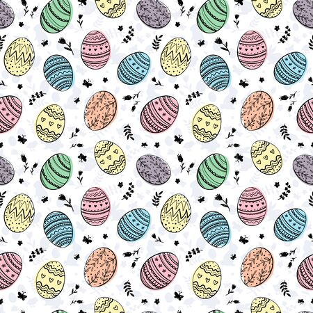 Cute hand drawn doodle easter eggs seamless pattern, colorful background, great for textiles, banners, wallpapers, easter cards and wrapping - vector design Archivio Fotografico - 140286425