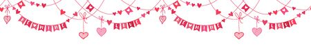Cute hand drawn Valentines garland horizontal seamless pattern, romantic background, great for wallpaper, banner, websites, cards - vector design 向量圖像