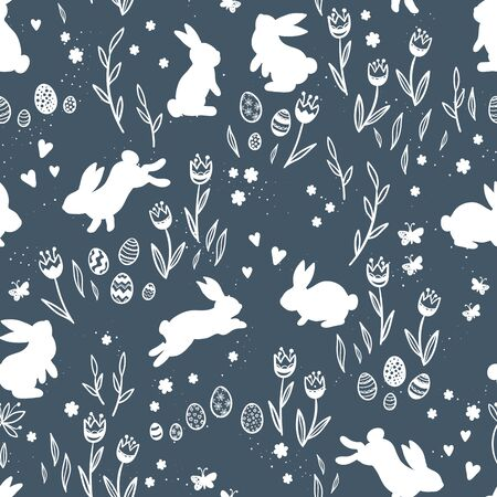 Cute hand drawn Easter seamless pattern with bunnies, flowers, easter eggs, beautiful background, great for Easter Cards, banner, textiles, wallpapers - vector design Archivio Fotografico - 140286436