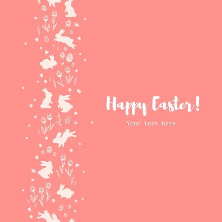 Cute hand drawn Easter vertical seamless pattern with bunnies, flowers, easter eggs, beautiful background, great for Easter Cards, banner, textiles, wallpapers - vector design Archivio Fotografico - 140286439