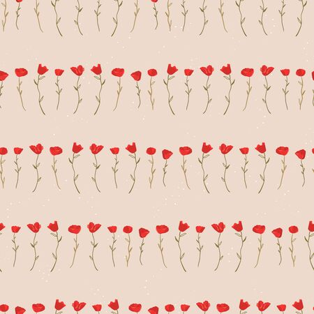 Cute hand drawn floral seamless pattern, poppy flowers on dark blue background, great for textiles, banners, wallpaper and wrapping - vector design