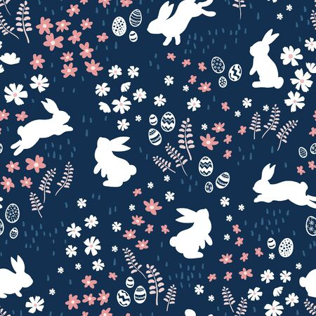 Cute ha nd drawn bunnies in a flower meadow, sweet easter pattern, with rabbits, flowers, easter eggs - great for textiles, easter cards, banners, wallpapers - vector design