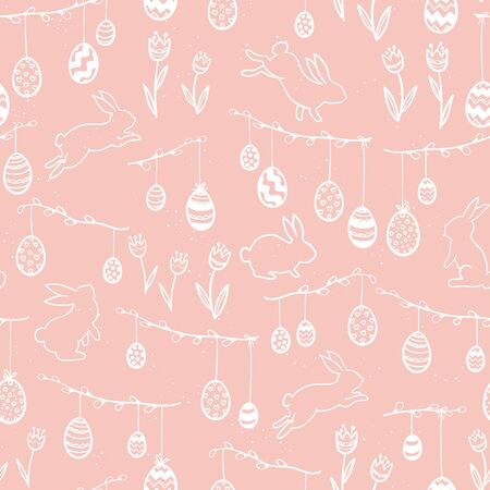 Cute hand drawn easter seamless pattern, hanging easter eggs and bunnies - great for textiles, banners, wallpapers, cards - vector design