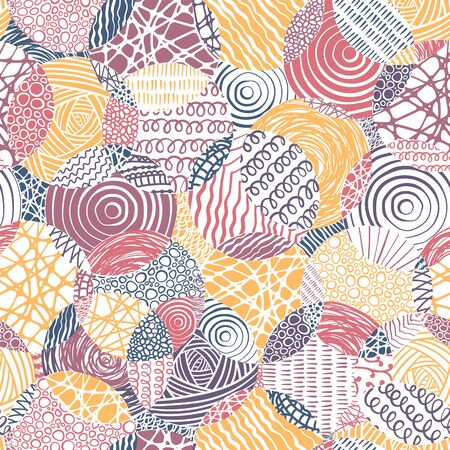 Hand drawn abstract seamless pattern with doodle circles, fun background, great for textiles, banners, wallpapers, wrapping - vector design