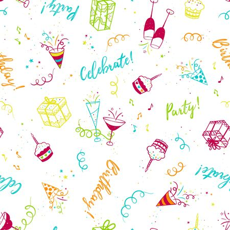 Cute hand drawn party seamless pattern, fun doodle background, great for banners, wallpapers, textiles, wrapping - vector design
