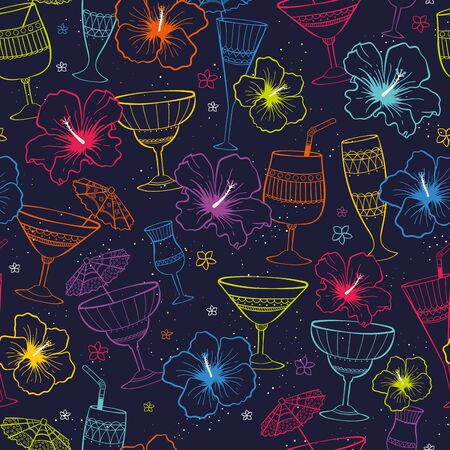 Cute hand drawn exotic flowers and cocktails seamless pattern, tropical background, great for banners, textiles, wallpapers, wrapping - vector design