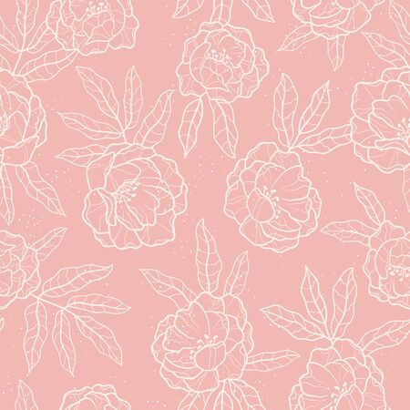 Elegant hand drawn peonies seamless pattern, lovely floral background, great for textiles, banners, wallpapers, wrapping - vector design Vettoriali