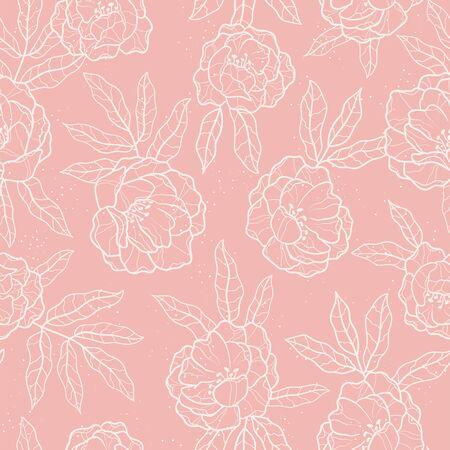 Elegante handgezeichnete Pfingstrosen nahtlose Muster, schöner Blumenhintergrund, ideal für Textilien, Banner, Tapeten, Verpackung - Vektordesign Vektorgrafik