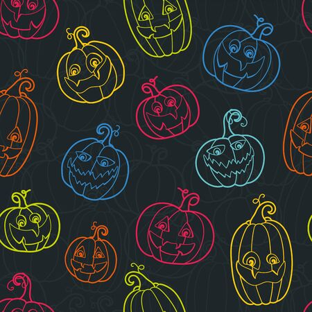 Fun hand drawn halloween background, colorful pumpkin seamless pattern, great for textiles, banners, wallpapers, wrapping - vector design