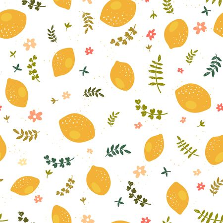 Cute hand drawn lemon seamless pattern, fresh summer background with leaves and lemons, great for textiles, banners, wallpapers - vector design
