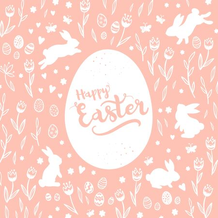 Cute hand drawn Easter Card design with bunnies, flowers and Easter eggs.