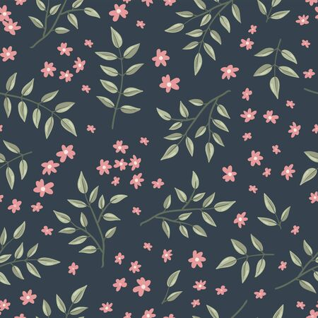 Lovely hand drawn branches seamless background, doodle leaves background, great for textiles, banners, wallpapers - vector design