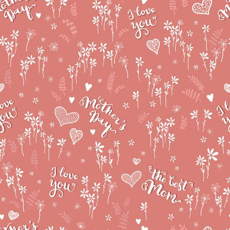 Cute hand drawn Mother's Day seamless pattern with type, flowers and hearts - great for banners, wallpapers, cards - vector design
