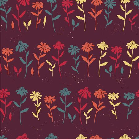 Cute hand drawn floral seamless pattern, coneflower doodles background, great for textiles, banners, wallpapers, wrapping - vector design Ilustracja