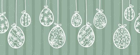 Cute hand drawn hanging easter eggs with floral pattern, horizontal seamless, easter garland, great for web banners, cards, vector design Ilustracja