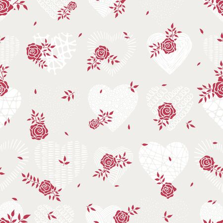 Cute floral seamless pattern, background with a meadow of roses, great for textiles, banners, wallpapers, Mother's Day or Valentine's - vector design
