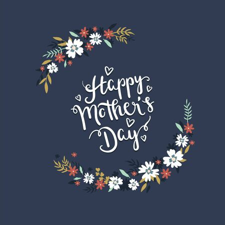 Hand drawn Happy Mother's Day design with flowers - vector design