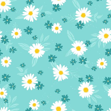 Cute hand drawn floral seamless pattern, lovely flower meadow background, great for spring or summer textiles, banners, wallpaper, wrapping - vector design