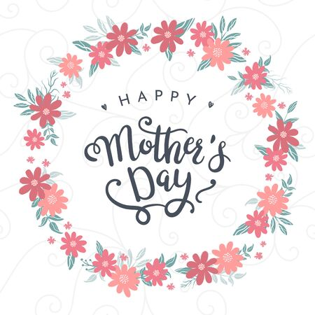 Cute hand drawn Mother's Day design with lovely flowers, great for cards, wallpapers, banners - vector design. Ilustracja