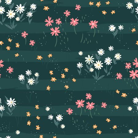 Hand drawn ditsy flower field seamless pattern, cute floral background, great for textiles, banners, wallpapers - vector design