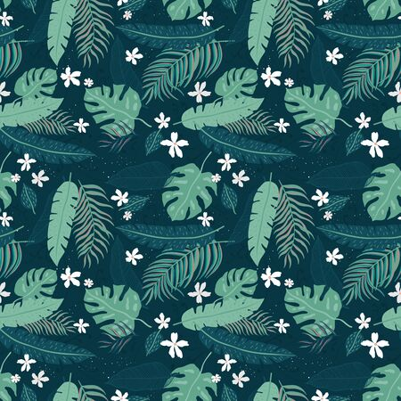 Tropical Leaves Seamless Pattern - elegant, exotic, hand drawn leaves - great for Textiles, Fabrics, Wallpapers, banners, Cards - surface design