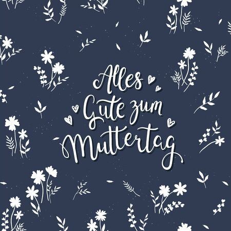 Lovely hand drawn and hand written Mother's Day design in german, great for Cards, Wallpaper, Banner - vector design Ilustracja