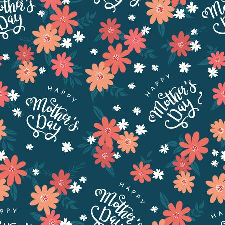 Cute hand drawn Mother's Day seamless pattern with flowers and text, great for banners, wallpapers, wrapping, textiles - vector design