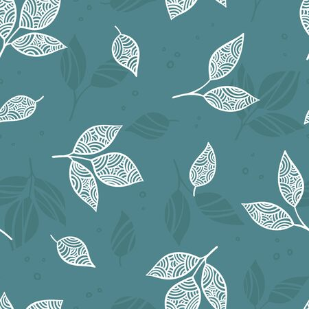 Creative hand drawn leaves seamless pattern, cute background, great for textiles, banners, wallpapers, wrapping - vector design 矢量图像