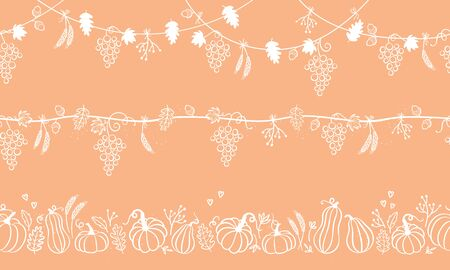 Collection of lovely hand drawn Thanksgiving garland, horizontal seamless, great for textiles, banners, wallpapers, cards - vector design