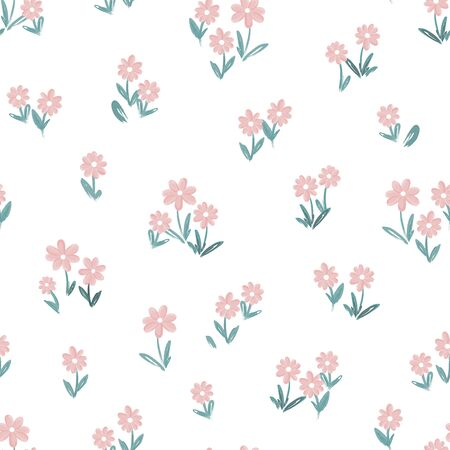 Cute hand drawn flower meadow seamless pattern, lovely spring or summer background, great for textiles, banners, wallpapers, wrapping - vector design
