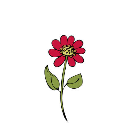 Illustration of flower on white background. Coloring book. Cartoon vector illustration. Иллюстрация