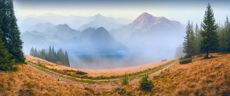 begining: Panorama of high mountain foggy valley. Early morning. The new day begining
